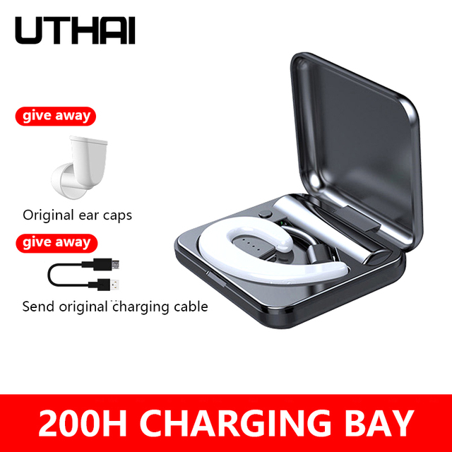 UTHAI D56 TWS Wireless Bluetooth Headset 5.0 Bone Conduction Over Ear Headphones Long Standby Bluetooth Headset, IPX5 Waterproof