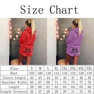 Image 2 - Queenral נשים של פיג מה סט Pyjama סקסי Nightwear חם פיג מה Homewear הלבשת פלנל חורף פיג מה בתוספת גודל XXXL 4XL 5XL