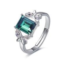 Украшенные кристаллами Сваровски, Индивидуальные Кольца с зеленым камнем, кристаллом бабочки регулируемого размера для вечерние, женские кольца