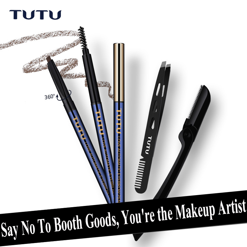 Eyebrow Pencil Waterproof Sweat - Proof Dye Beginners Use Two - Headed Eyebrow Brush Eyebrow Knife Eyebrow Clip Tweezer Sets
