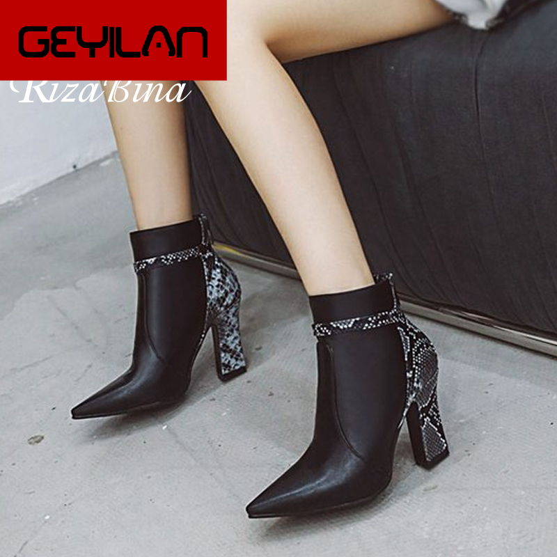 Size 32-48 Office Lady Ankle Boots Fashion Snake Print Sexy Pointed Toe Winter Warm Fur High Heel Shoes Women