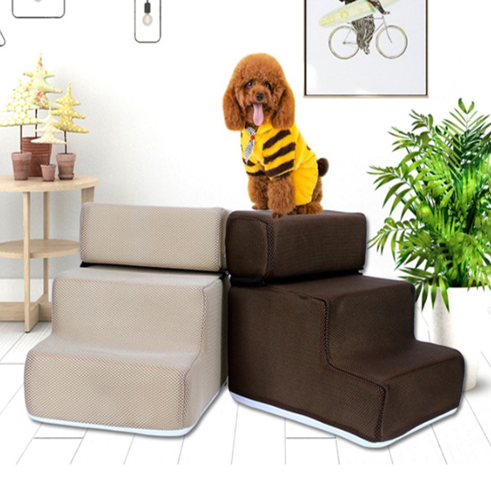 Convient Pet Bed Stairs Ladder 2/3 Steps Removable Non-slip Ramp Climbing Washable Detachable Dog Bed Ladder Ramp Puppy Supplies