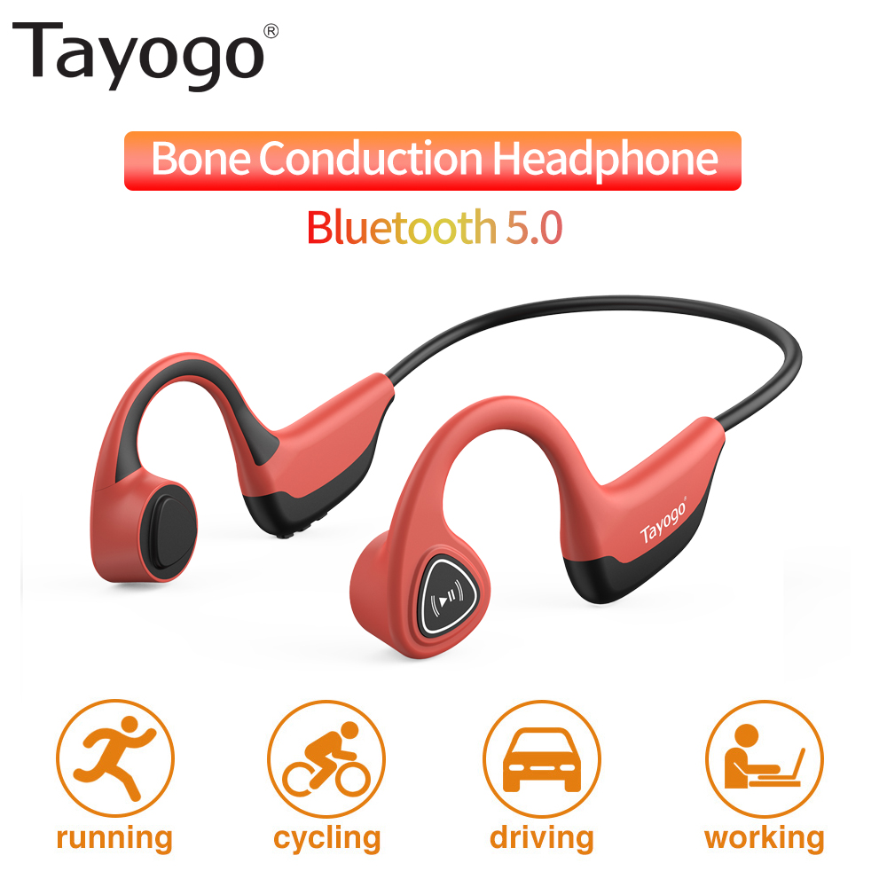 Tayogo <font><b>S2</b></font> Wireless <font><b>Bluetooth</b></font> Headset Bone Conduction Earphone Outdoor Sport Sweatproof Headphones with Mic Handsfree image
