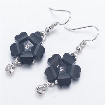 Women Flower Petals Rhinestone Dangle Drop Hook Cute Earrings Jewelry minimalist earrings joias de alto luxury damen ohrringe