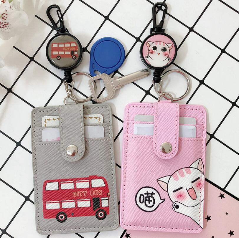 1pcs Cartoon Fruit Animals PU Leather Card Case Business Card Holder With Safety Anti-lost Retractable Key Chains Office Supply