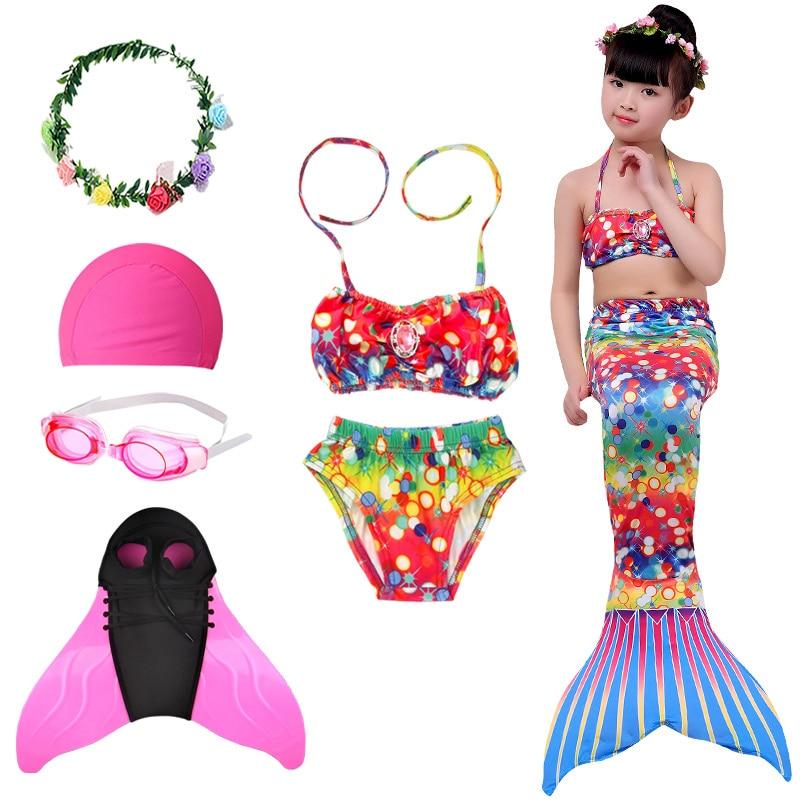 Disfraz de chica sirena para cosplay, colas de sirena nadar, aletas Monofin, traje de baño para niños, bikini de playa de fantasía