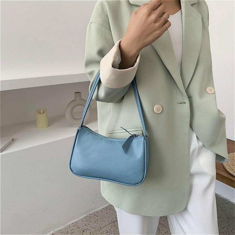 Weiche PU Leder Frauen lila Achsel Tasche Retro einfarbig Damen - Handtaschen - Foto 2