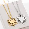 Ожерелье из нержавеющей стали с двойной головкой орла, российский флаг Албании, подвески с изображением орла, эмблема, ожерелье, этнические ...