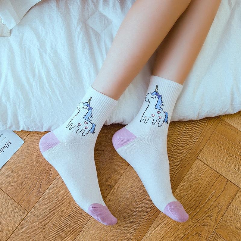 Fashion New Cute Unicorn Harajuku Style Woman Cotton Socks Hipster Animal 3D Printing Socks Calceines Fun Happy Socks Girl