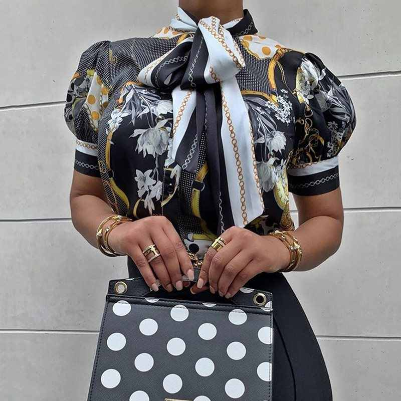 Zwarte Bloemen Lantaarn Korte Mouw Blouse Plus Size Voor Vrouwen 4XL Vintage Office Dames Coltrui Boog Lace Up Zomer Tops 2019