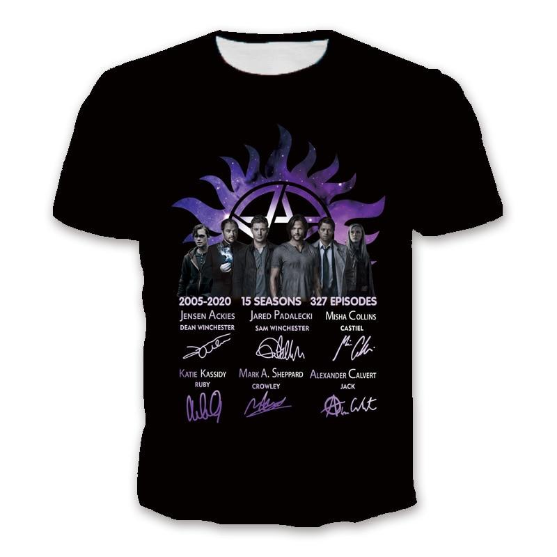 2020 Supernatural 2005-2020 15 Seasons 327 Episodes Thank You Signature Shirt Men'S Short Sleeve Polyester Fabric T Shirt