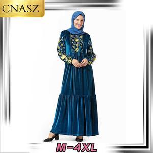 Мусульманское платье Среднего Востока размера плюс женская мусульманская Турецкая Мода бант золото бархат вышитые арабские юбки
