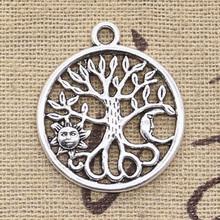10 sztuk Charms drzewo życia Norse Viking słońce księżyc 29x25mm antyczne srebro kolor wisiorki DIY dokonywanie ustalenia tybetański biżuteria tanie tanio eunwol CN (pochodzenie) like photo Metal tree Ze stopu cynku TRENDY