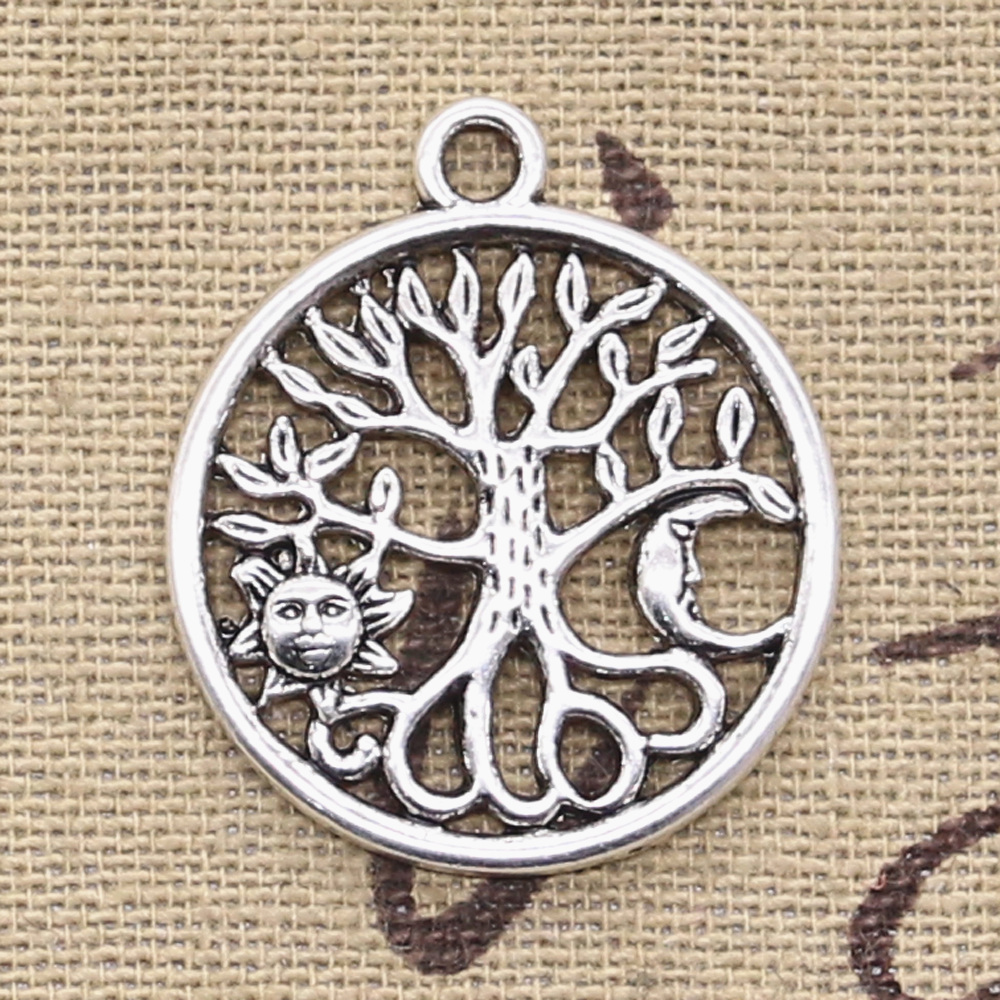 10pcs Charms Tree Of Life Norse Viking Sun Moon 29x25mm Antique Silver Color Pendants DIY Making Findings Tibetan Jewelry