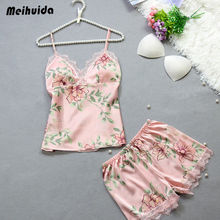 new design floral print V-neck  Sleepwear Satin Silk Babydoll Lace Nightwear Fashion Womens lace silk satin Pajamas Set