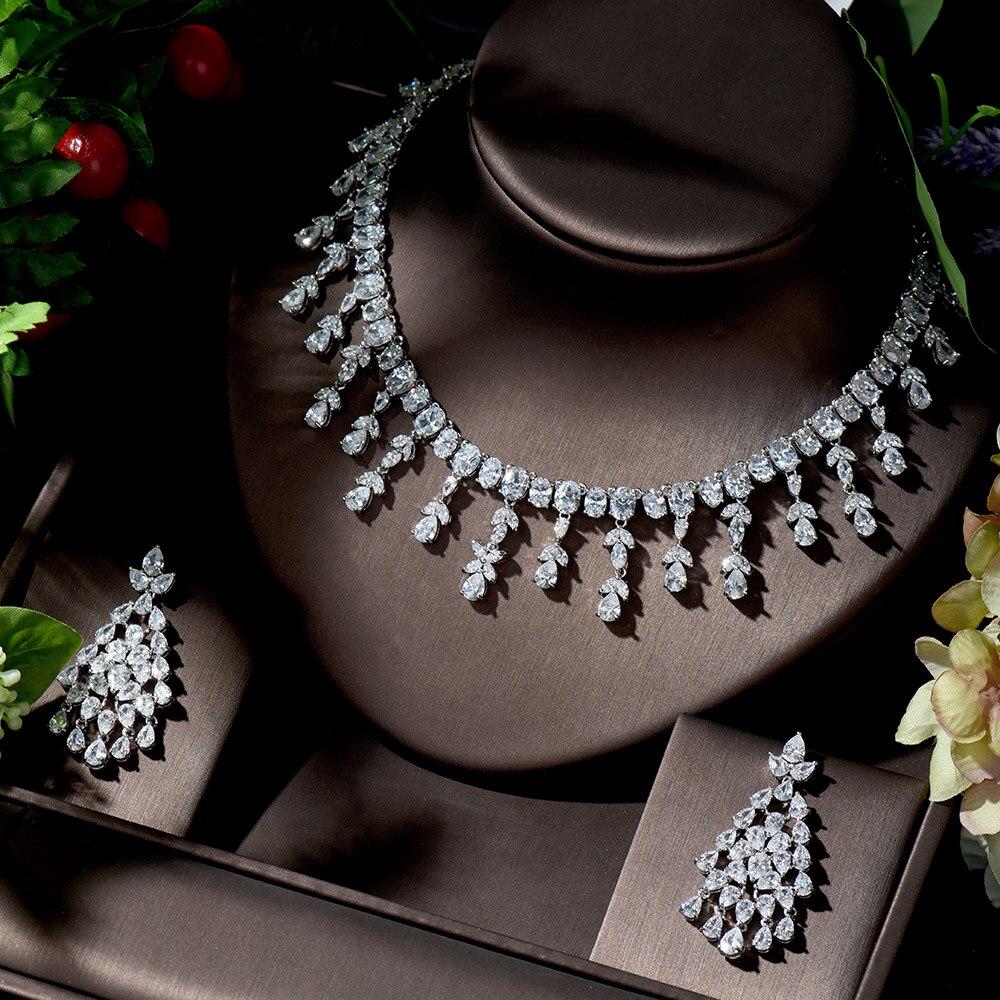HIBRIDE Sparking Brilliant Big Water Drop Cubic Zircon Women Wedding Jewelry Set For Bridal Fashion Necklace parure bijouxN-1361