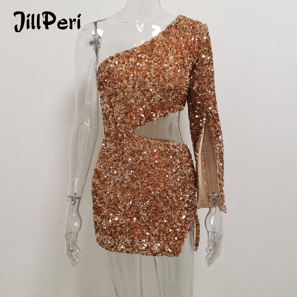 JillPeri Women Sexy One Shoulder Sequin Dress Luxury Sparkle Gold Rose Waist Hollow Out Ultra Short Outfit Club Wear Party Dress