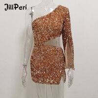 JillPeri Women Sexy One Shoulder Sequin Dress Luxury Sparkle Gold Rose Waist Hollow Out Ultra Short Outfit Club Wear Party Dress
