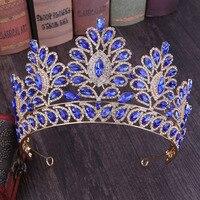 Модный дизайн барокко Изысканный Золотой синий красный кристалл тиара и корона для женщин невесты свадебные украшения для волос аксессуар...