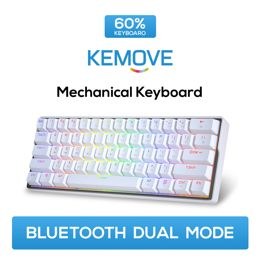 KEMOVE RGB Mechanical <font><b>Keyboard</b></font> White Gateron Hot-swappable Switch 5.1 Bluetooth USB <font><b>60</b></font>% Gaming <font><b>Keyboard</b></font> PBT <font><b>Keycaps</b></font> Backlight image