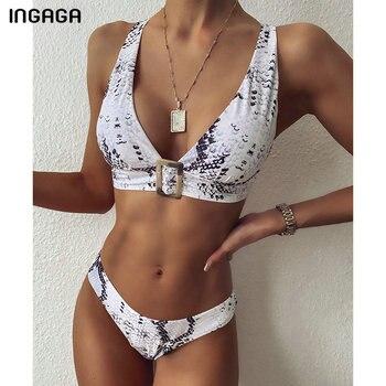 INGAGA Push Up Bikini Set Swimwear Women V-neck Swimsuits Snake Printing Biquini Top Wrap Bikinis Beach Wear Bathing Suits - discount item  38% OFF Swimwears