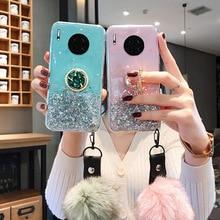 Case for Honor 10X 10 Lite Cases Glitter Silicon Honor 10i 20 30S Phone Cover Mate 20 10 Lite 30 40 Pro Plus Holder+Fur Ball Bag