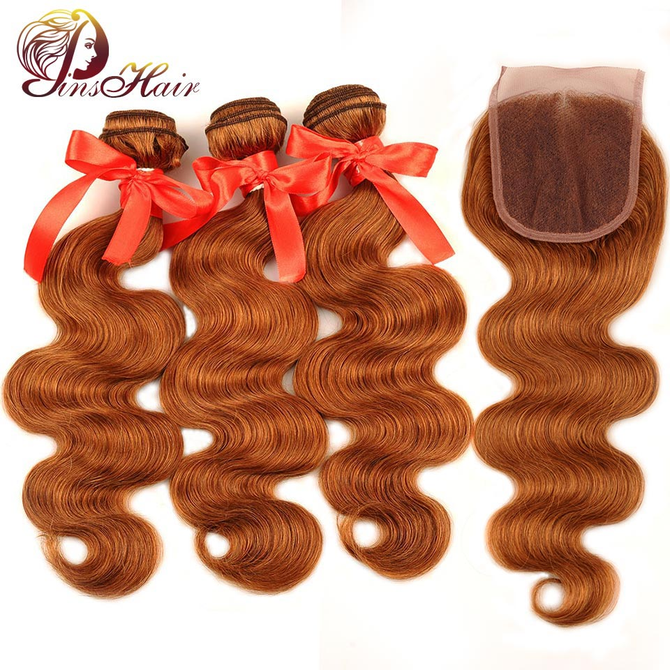 Pinshair Honey Blonde Bundles With Closure 30 Colored Brazilian Body Wave 3 Bundle With Lace Closure Human Hair Weaves Non-Remy
