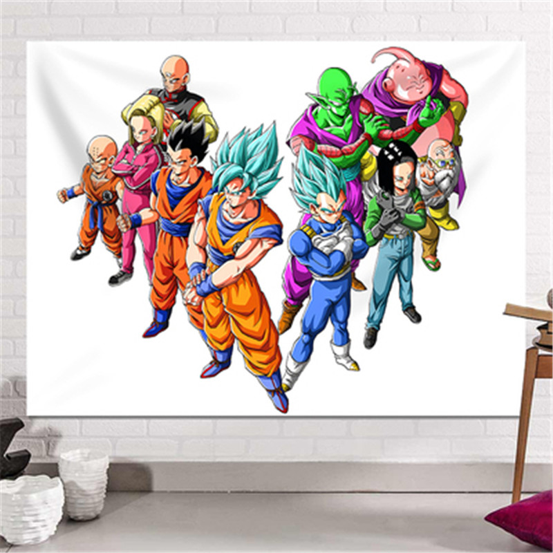 Dragon Ball Son Goku impression dortoir fond tissu Action Figure Anime maison décorative tissu tapisserie X2589 - 3