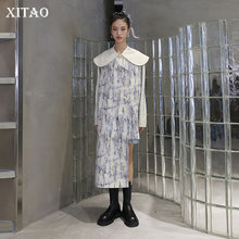 Goddess-Fan Coat Pleated Patchwork Irregular-Printed Trench Women XITAO Fashion-New Casual
