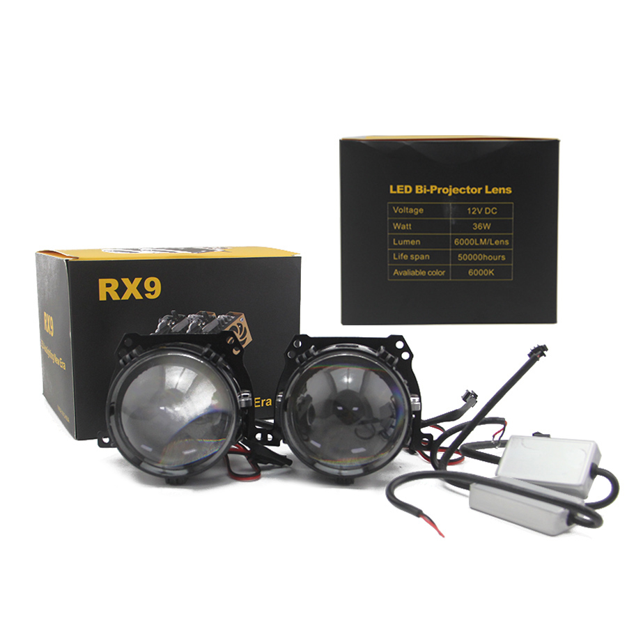 Bedehon Super luminosité 2 pièces RX9 2.5 pouces LHD RHD Bi projecteur LED lentille 12V 36W 6000K 6000LM salut/Lo faisceau avec lecteur externe