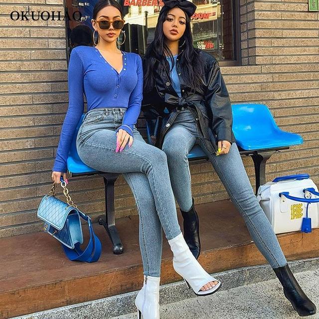 Women's Jeans High Waist Stretch Skinny Denim Trousers 2021 Blue Retro Washed Fashion Sexy Elastic Slim Pencil Pants Oversize 5