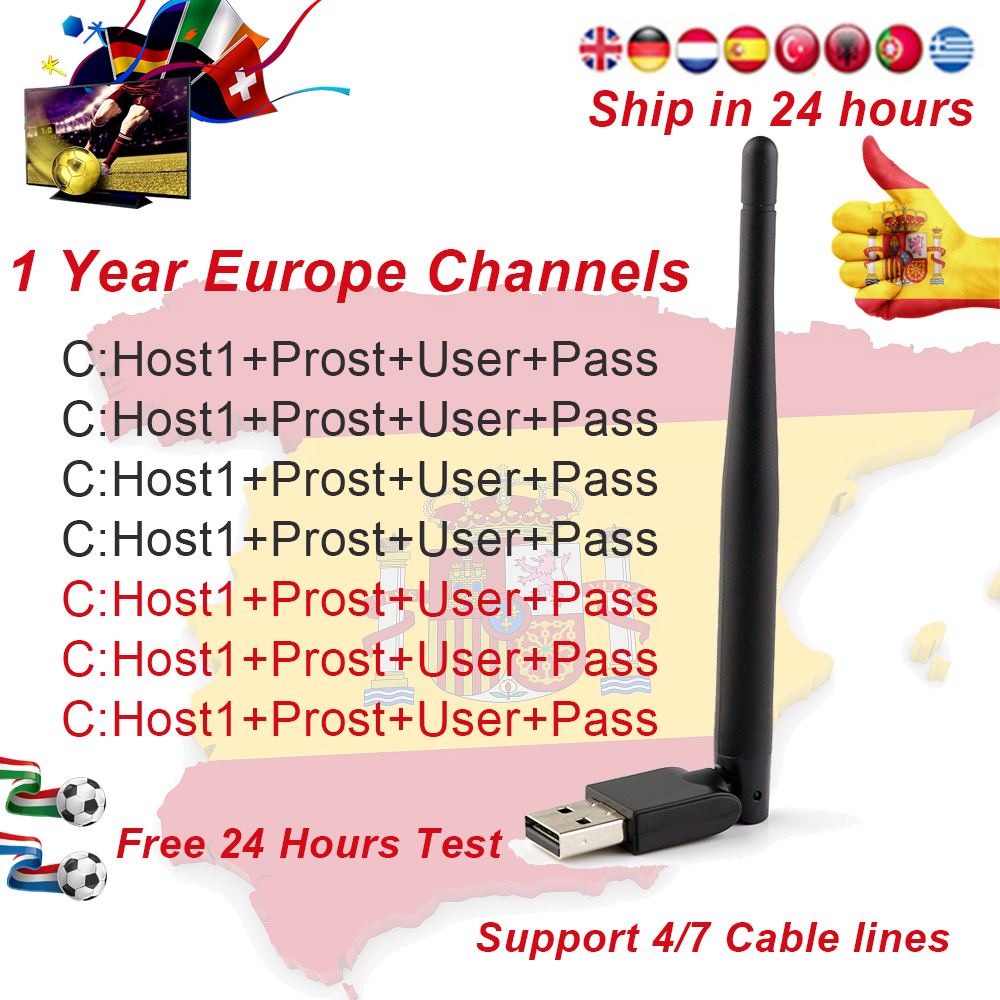 1 Year Europe 4/7 Cable Channels Receptor Satellite DVB-S2 Satellite TV Receiver HD Europe Channel Spain Portugal Germany Poland