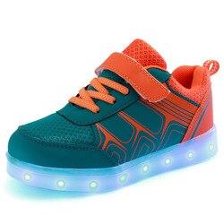 JawayKids wiosenne letnie dziecięce buty led USB ładowanie świecące tenisówki oddychające dziecięce obuwie dla chłopców i dziewcząt w Trampki od Matka i dzieci na