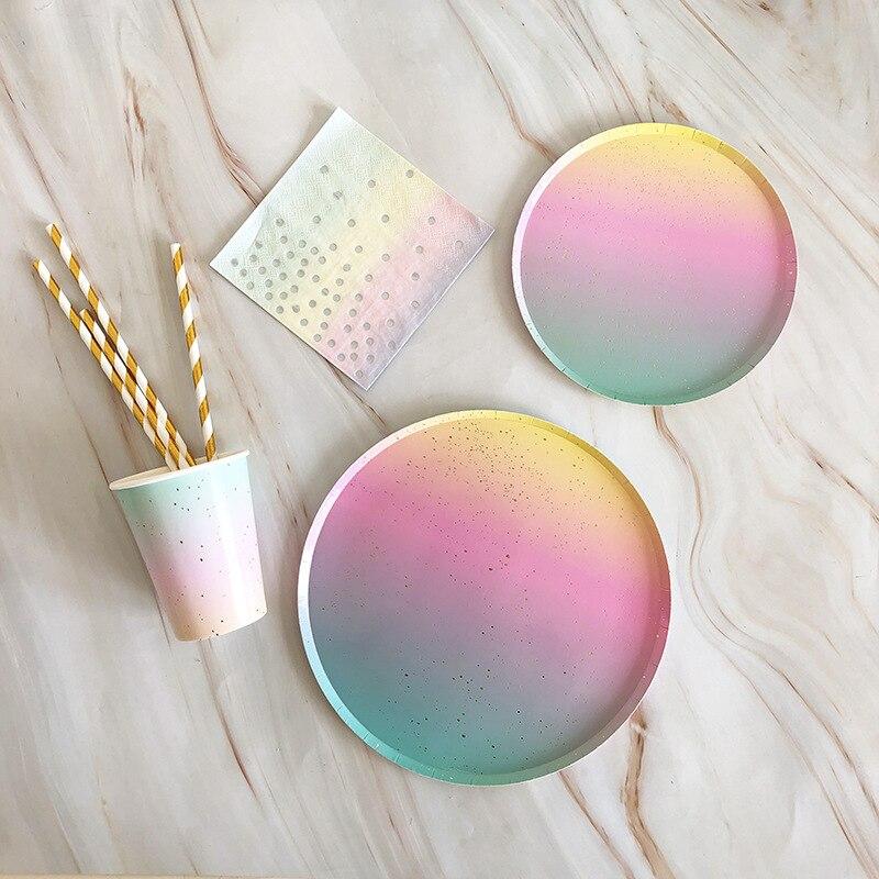 65 pçs papel de ouro arco-íris descartáveis utensílios de mesa festa de aniversário do natal placas de papel copos fontes de festa de carnaval palhas de plástico