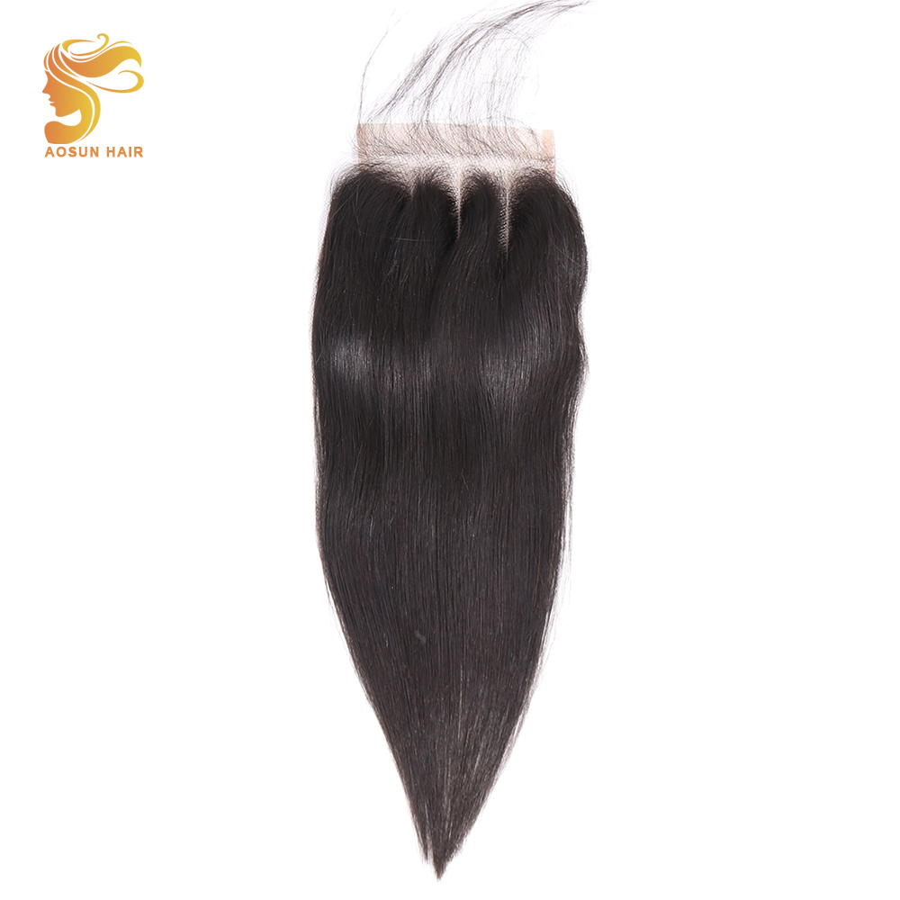 AOSUN HAIR Brazilian Straight Remy Human Hair 4x4 Lace Closure 8-20inches Three Part Pre Plucked Bleached Knots With Baby Hair