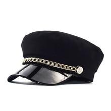 Beret-Hat Retro-Button Flat-Top Newsboy Vintage Chain Visor Classic Navy-Hat Patchwork