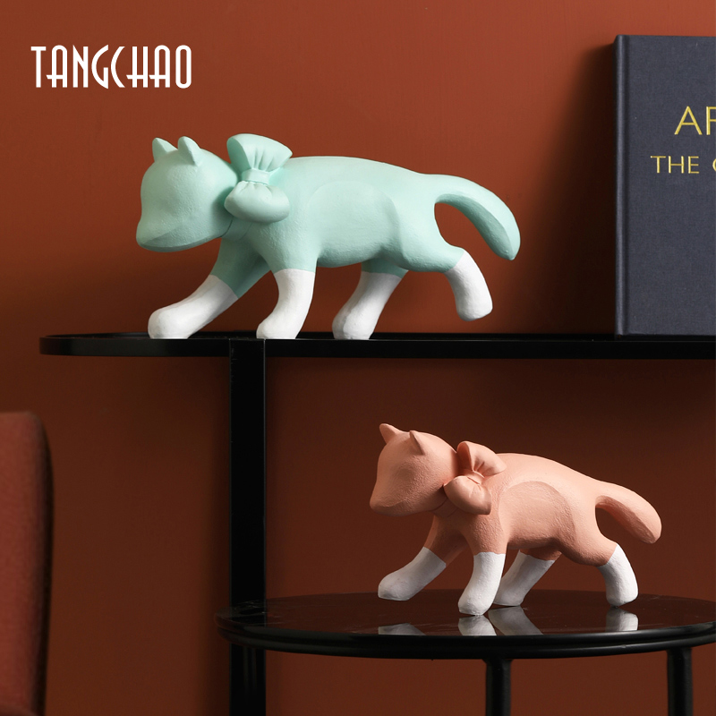 TANGCHAO Nordic Resin Creative Cat Figurines Home Decor Sculpture Modern Animal Home Decoration Living Room Decor Ornament