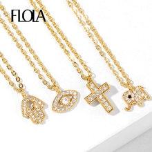 FLOLA-colliers d'éléphant en cristal de Fatima pour femmes, petit collier d'éléphant, œil maléfique, rempli d'or, bijoux CZ, olho grego, nkeq77