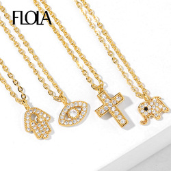 FLOLA Crystal Fatima Hand Cross Necklaces For Women Small Elephant Evil Eye Necklace CZ Gold Filled Jewelry olho grego nkeq77