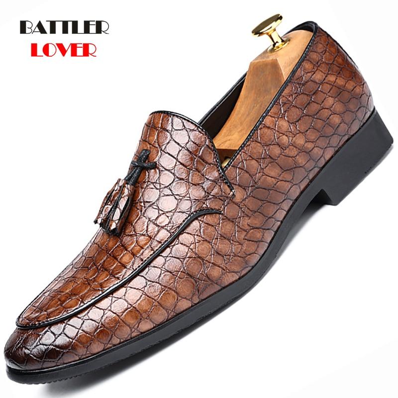 Shoe Classic Crocodile Skin Oxfords Men Shoes Summer Casual Shoe Man Fit Wedding Party British Men