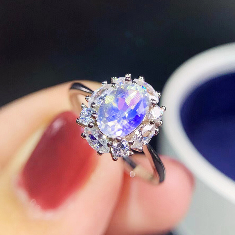 Dainty Natural Blue Moonstone Engagement Ring Solid sv925 Bridal Promise Anniversary Gift Lovely Flashy Gem Stone Wedding Ring
