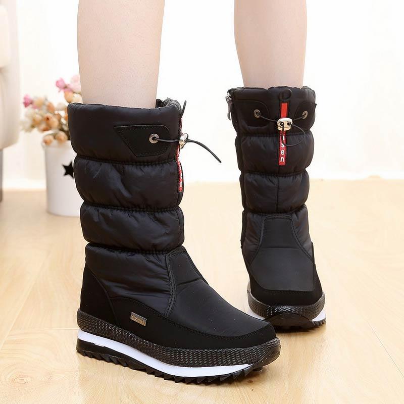 Женские Водонепроницаемые ботинки, зимние теплые ботинки с плюшевой подкладкой, на молнии, 2020 Сапоги до середины голени      АлиЭкспресс