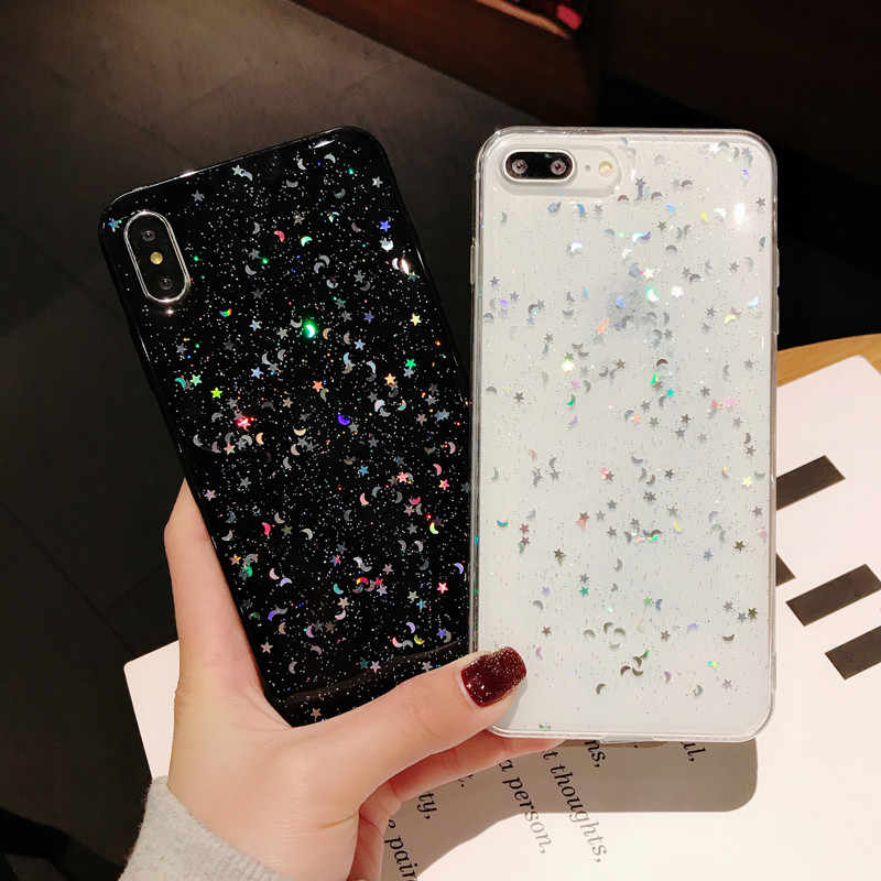 Luxus Glitter Star Mond Tpu Telefon Fall für Iphone X Xs Max 7 8plus 6s Xr Transparent Tpu fall für Iphone 11 fall Pro Max Abdeckung