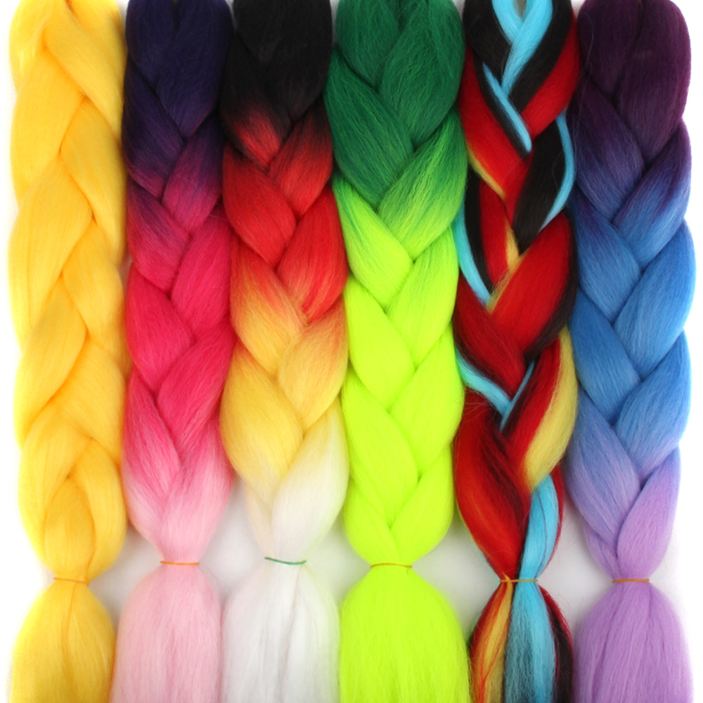 Afro Ombre Pre Stretched Braiding Hair Extensions Colored Strands Wick Expression Box Braids Synthetic Jumbo Crochet Hair Braid