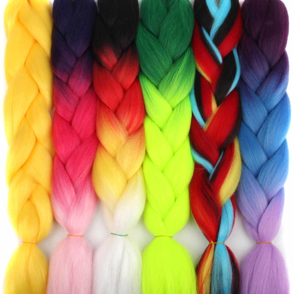 Afro Ombre Pre estiró extensiones de cabello trenzado hebras de colores mecha expresión caja trenzas tamaño gigante sintético Crochet pelo trenza