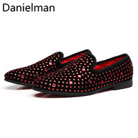 Danielman Mens Loafers Red Spikes Luxury Shoes Metal Sequins Crystal High Quality Casual Men Shoes Party Wedding Driving Shoes