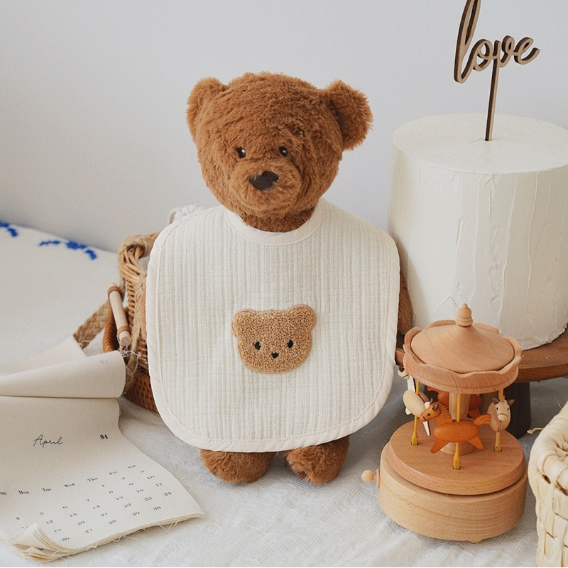 Korean Bear Embroidered Baby Bib Saliva Towel Cotton Gauze Bibs For Newborns Washcloth Feeding Handkerchief Boys & Girls