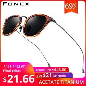 Image 1 - FONEX PURE BไทเทเนียมAcetateแว่นตากันแดดPolarizedผู้ชายใหม่แฟชั่นDesigner VINTAGEสแควร์ดวงอาทิตย์แว่นตาผู้หญิง 839