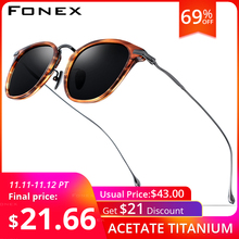 Fonex puro b titânio acetato polarizado óculos de sol dos homens nova marca de moda designer do vintage quadrado óculos de sol para mulher 839