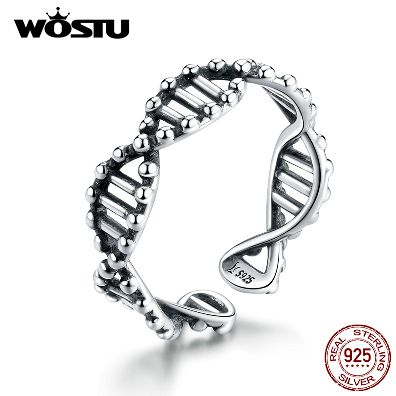 WOSTU Spiral Open Ring 100% 925 Sterling Silver Adjustable Vintage Simple Ring Finger For Women Fashion Party Jewelry CQR643